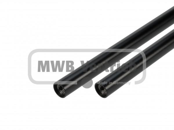 Stab Ø16 in RAL 9005, schwarz pulverbeschichtet, beidseitig Innengewinde M10, ohne Trapezscheibe