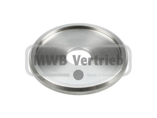 V2A Trapezscheibe Ø50 x 4 mm, mit Ausdrehung Ø42,6 x 2,0 mm, und Durchgangsbohrung 12,5 mm