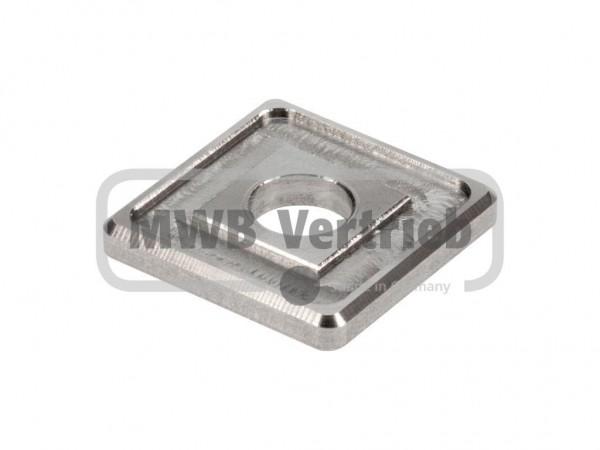 V2A Quadrat-Scheibe 30x30x4 mm, mit Ausdrehung 25x25x1,0 mm, und Durchgangsbohrung 10 mm