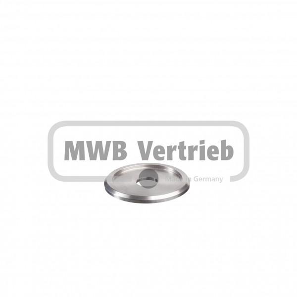 V2A Trapezscheibe Ø50 x 4 mm, mit Ausdrehung Ø40,3 x 2,0 mm, und Durchgangsbohrung 12,5 mm