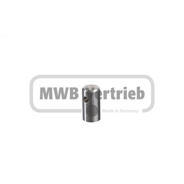 V2A Relingbeschlag Ø16 x 30 mm mit Gewinde M6 und Bohrung Ø5,5 mm für Seilsystem