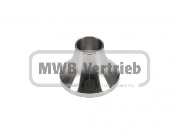 V2A Trompetenschuh Ø40 mm, ohne Gewinde für Rohr Ø16
