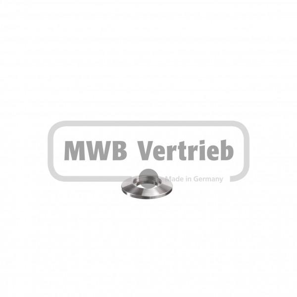 V2A Trapezscheibe Ø30 x 4 mm, mit Ausdrehung Ø16,2 x 1,5 mm, und Durchgangsbohrung 12,25 mm
