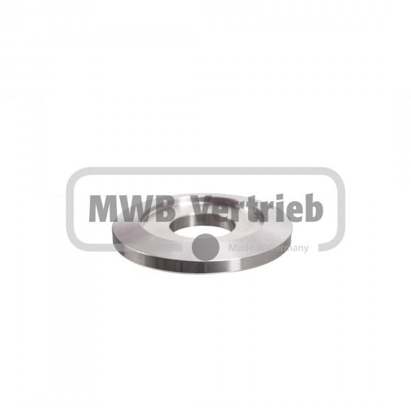 V2A Trapezscheibe Ø50 x 6 mm, mit Ausdrehung Ø33,9 x 2,0 mm, und Durchgangsbohrung 18,0 mm