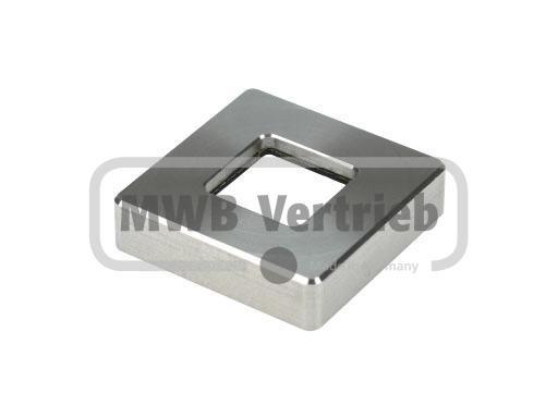 V2A Quadratrosette 43,3x43,3x11mm, mit Bohrung 16,4x16,4 für Rohr 16x16, CNC gedreht, mit Gummilager