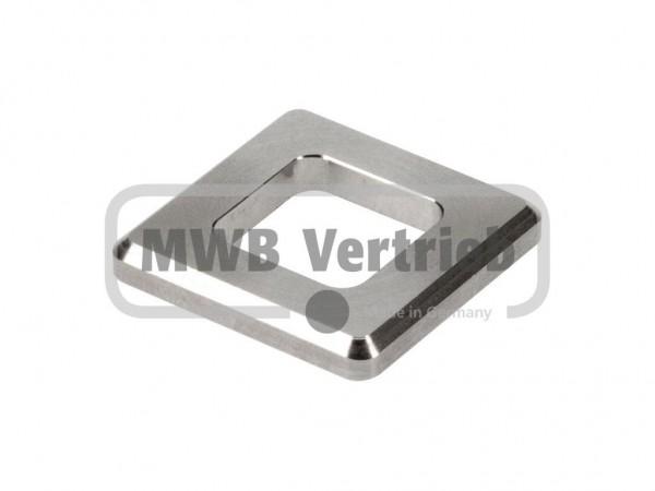 V2A Quadrat-Scheibe 30x30x4 mm, ohne Ausdrehung, 16x16 mm ausgefräst